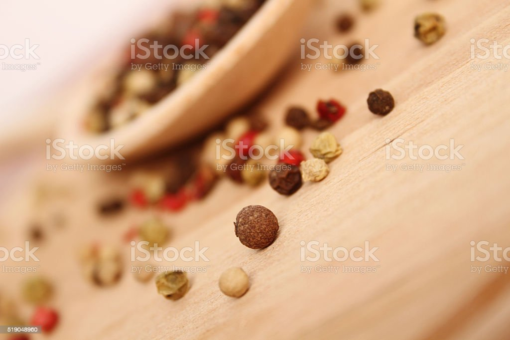 Spices in spoon stock photo
