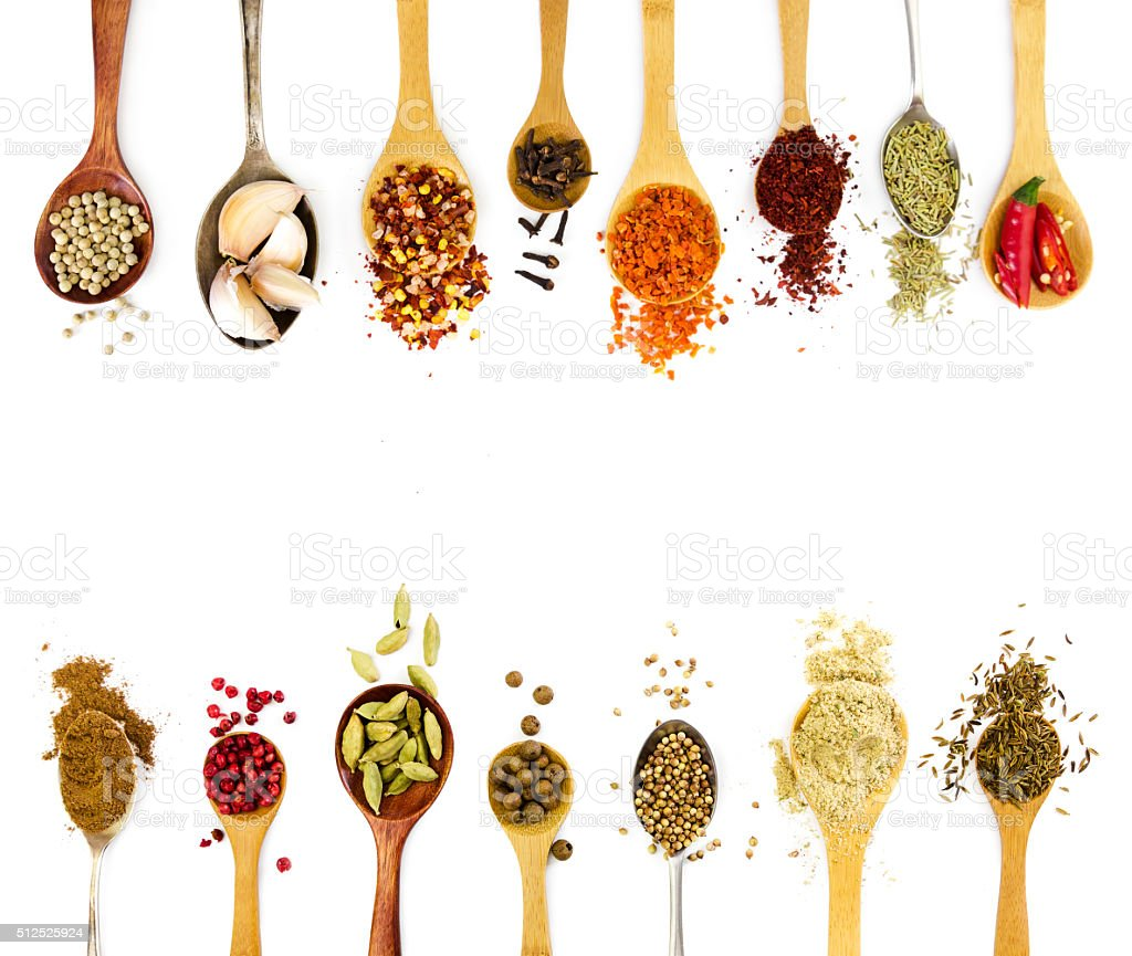 Spices in spoons isolated on white background. stock photo