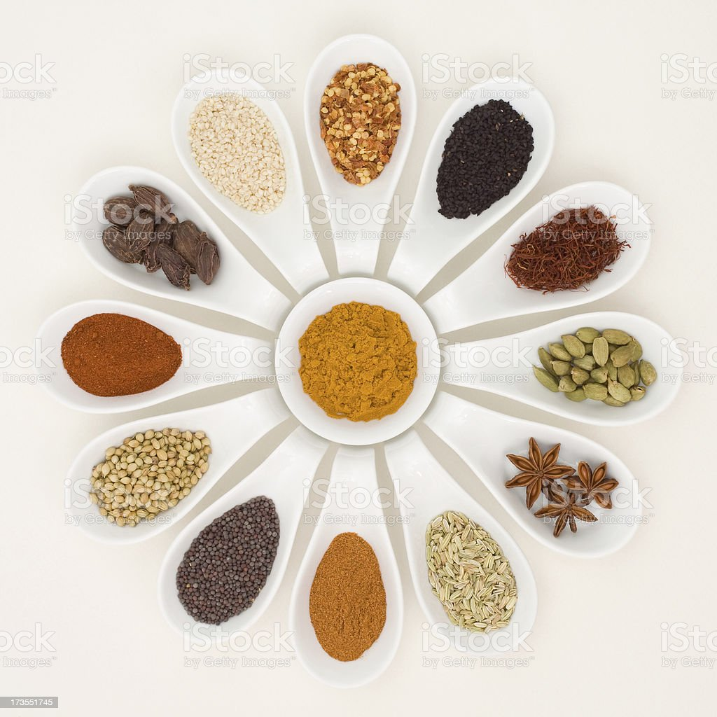 Spices in Spoons royalty-free stock photo