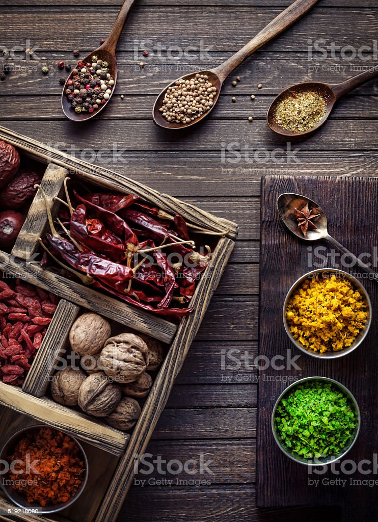 Spices in the box stock photo