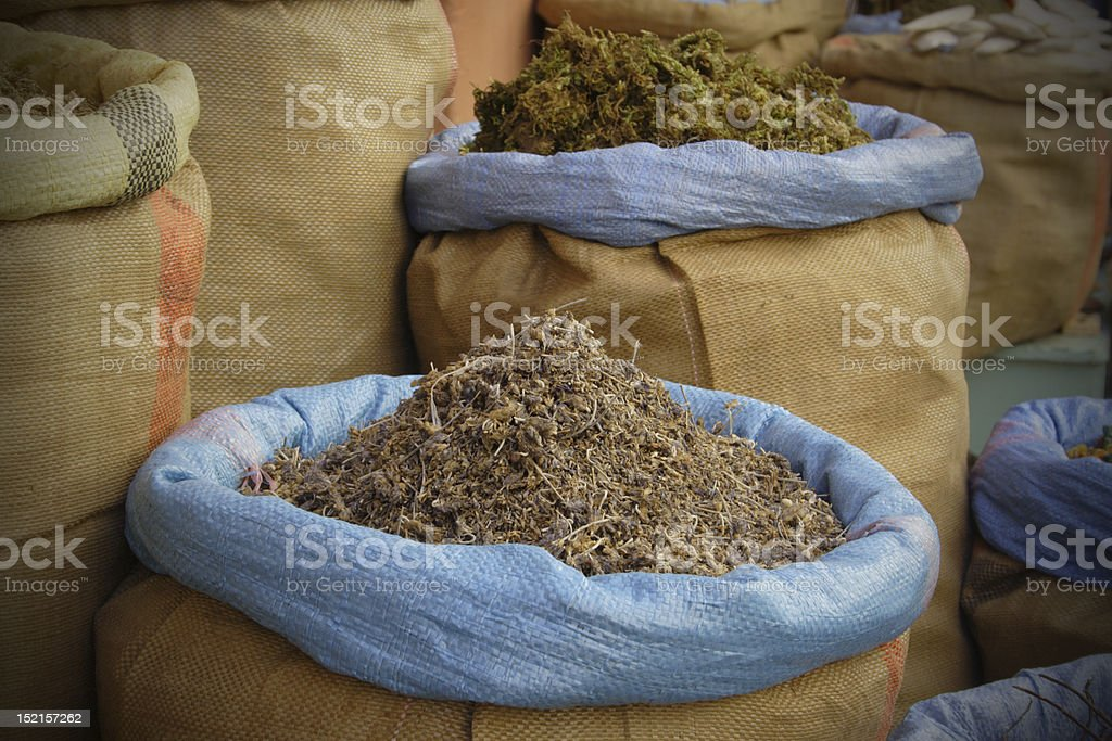 Spices in the sacks stock photo
