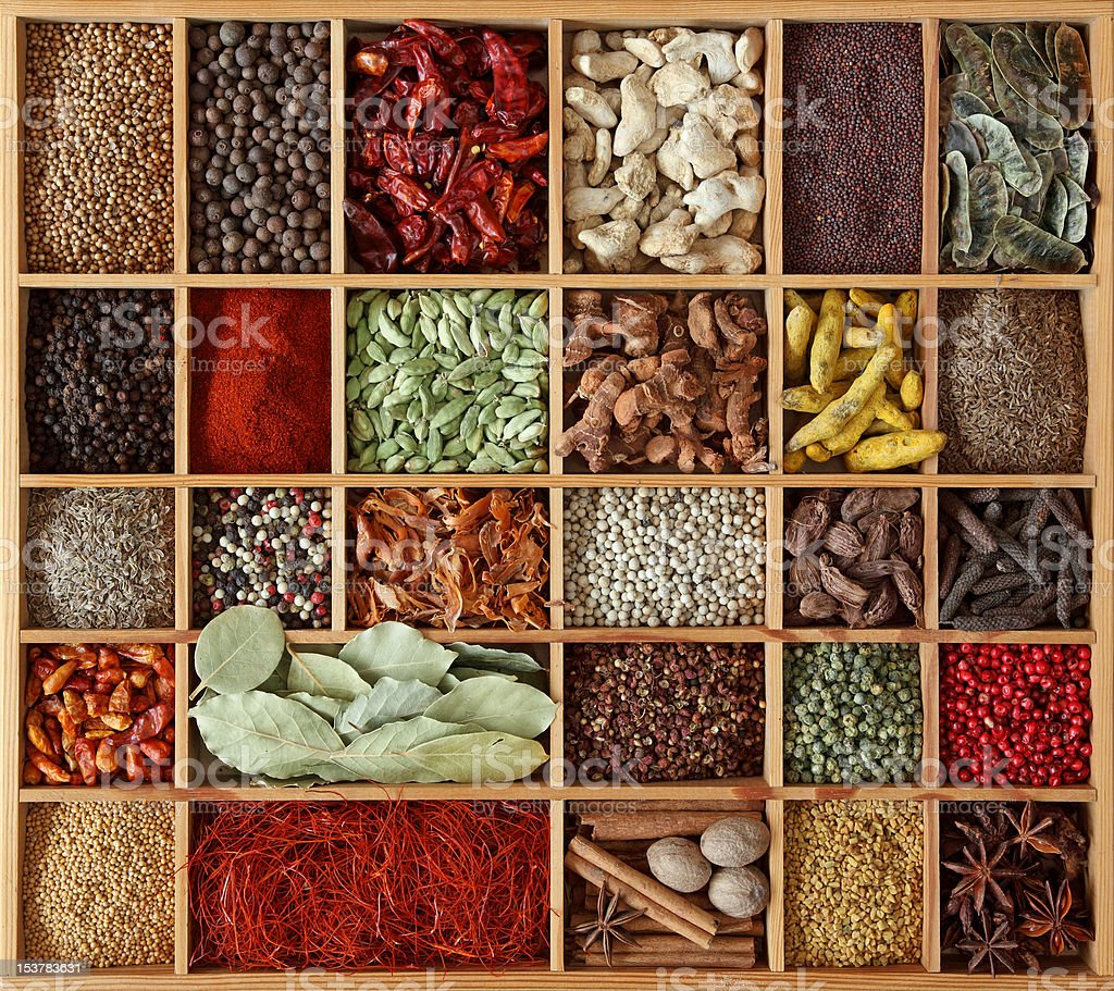 Spices in wooden box royalty-free stock photo