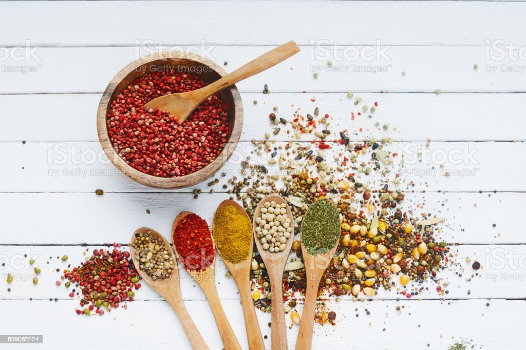 Spices in wooden stock photo