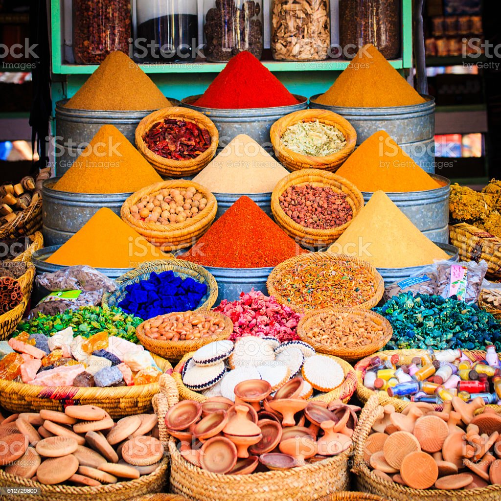Spices on a moroccan market,Marrakesh, Morocco. stock photo