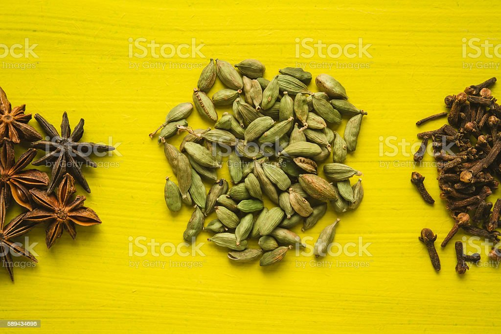 Spices on a table stock photo