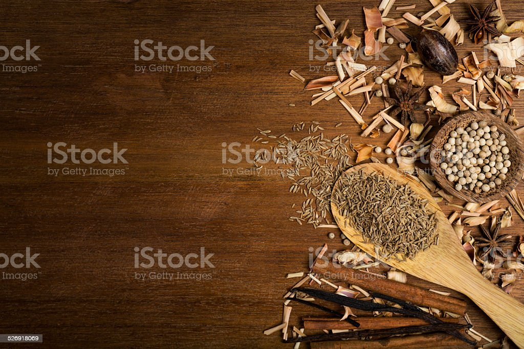 Spices on a wooden background stock photo