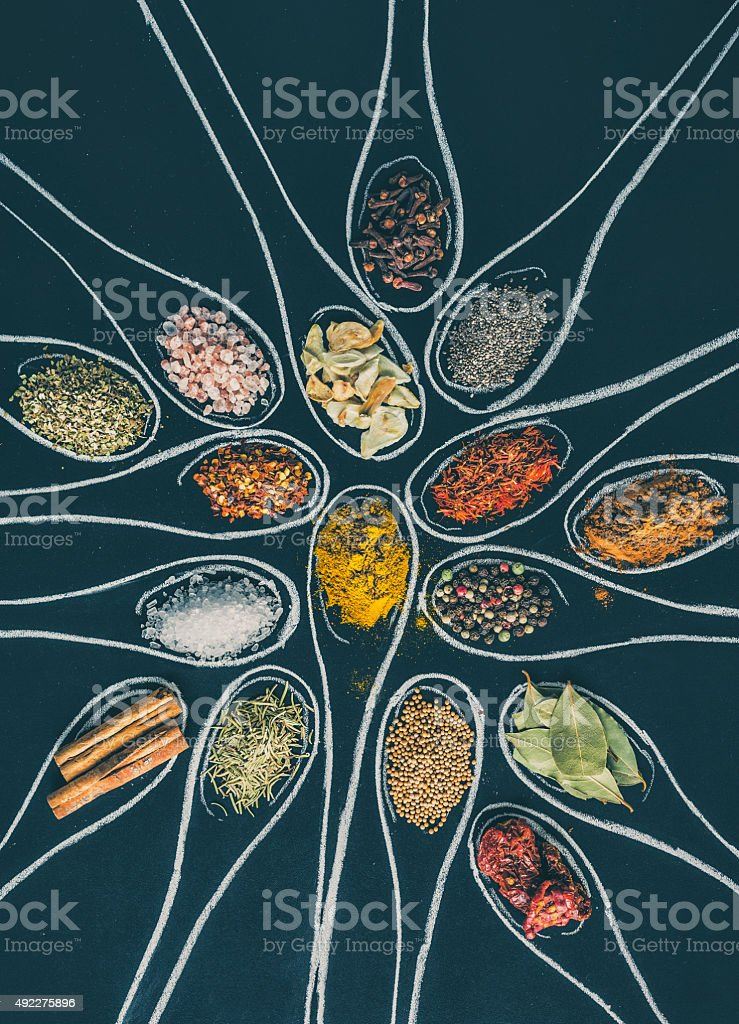 Spices on Black Board stock photo