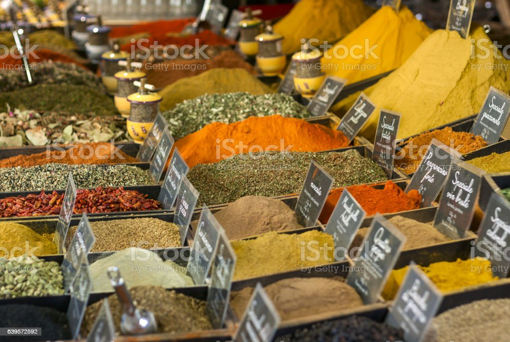 Spices on display on sale at market stock photo