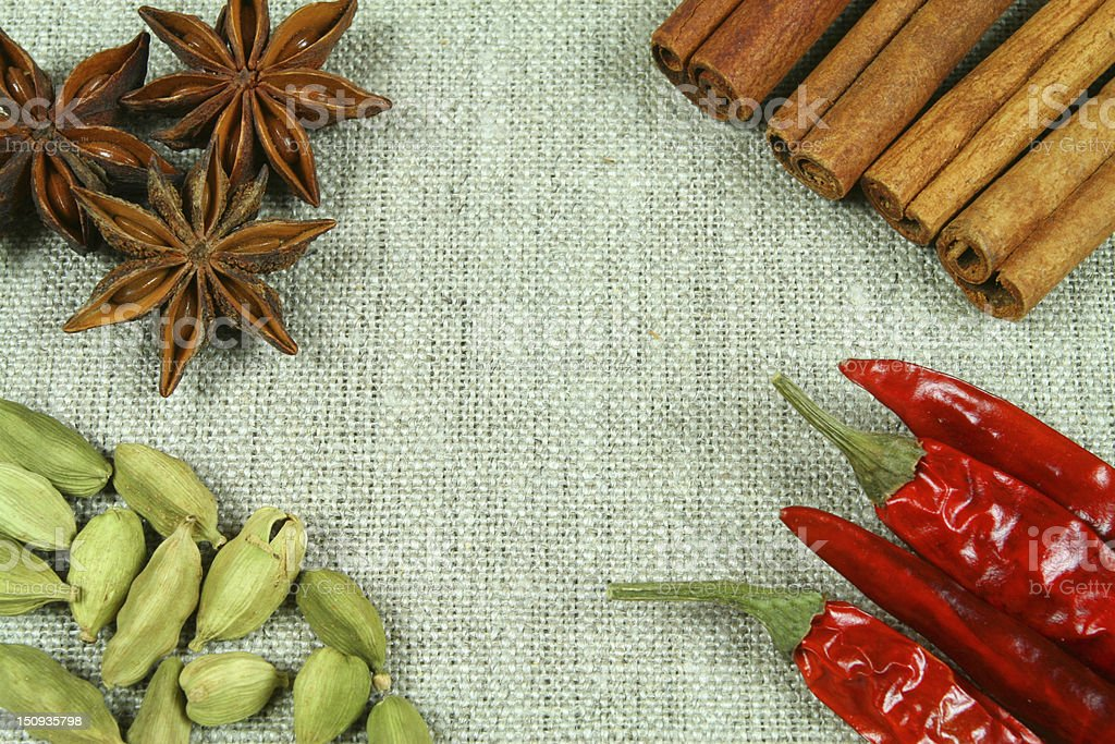 Spices on flax texture royalty-free stock photo