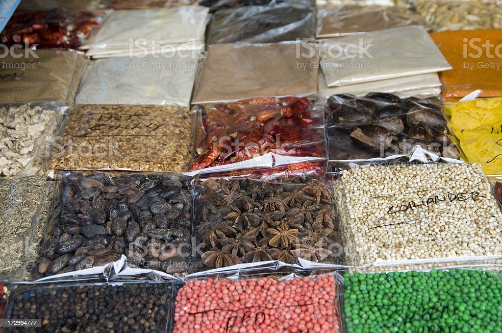 Spices on Marketplace stock photo