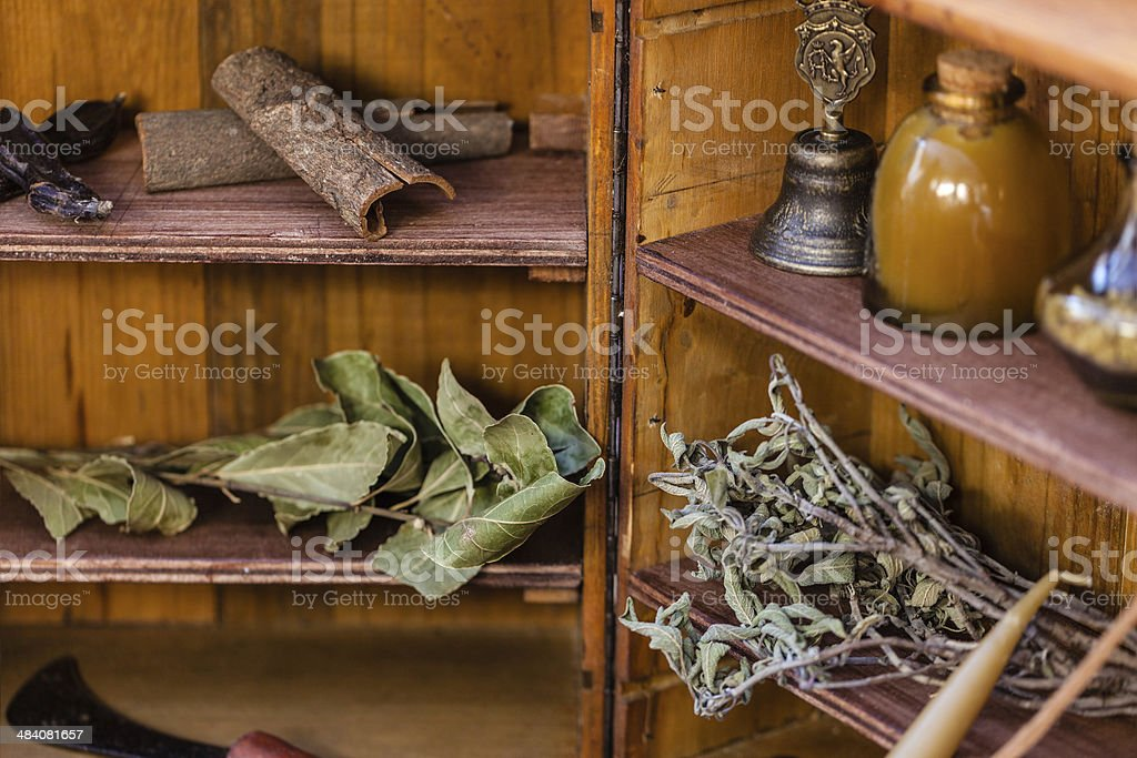Spices on shelves royalty-free stock photo