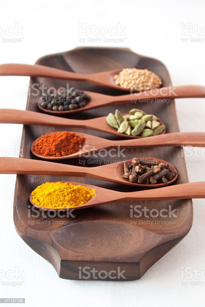 Spices on spoons (XL) stock photo