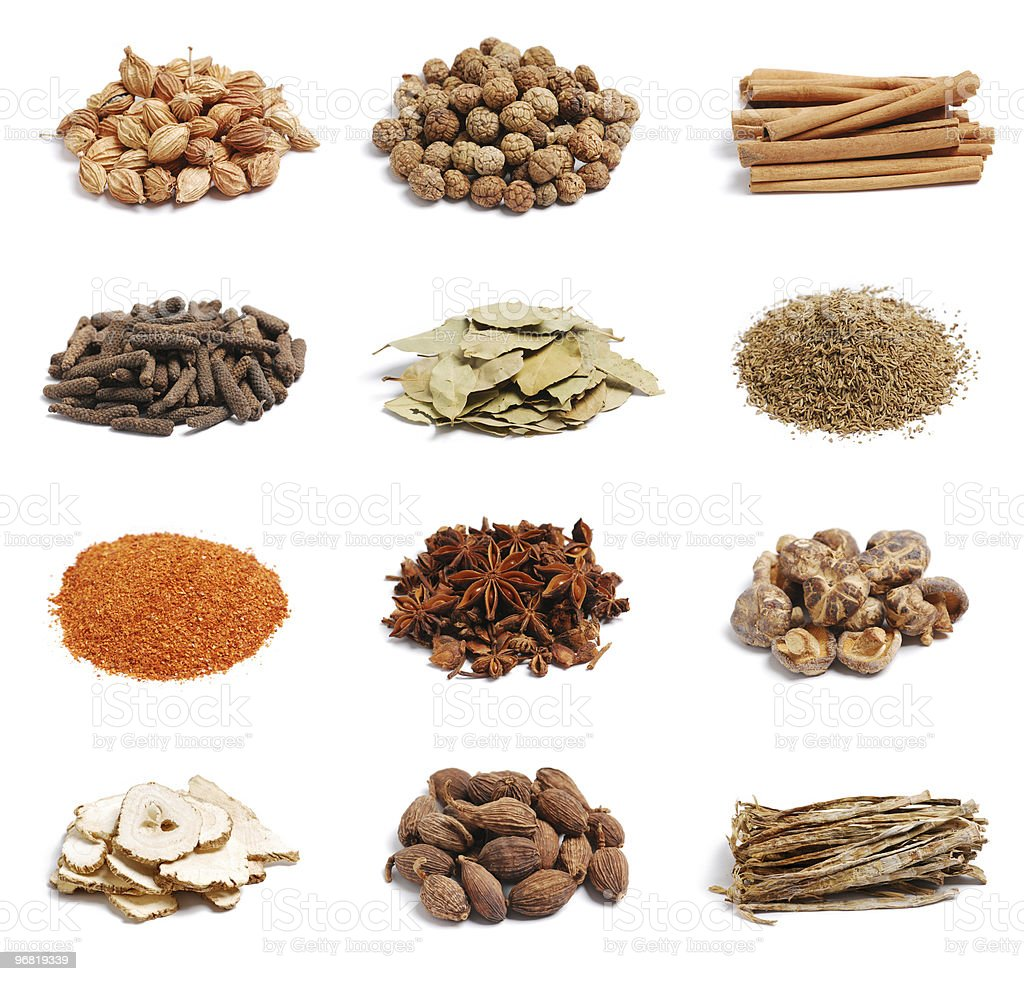 spices on the white background stock photo