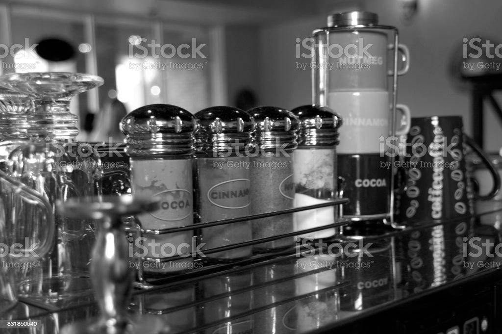 Spices on top of Espresso Machine stock photo