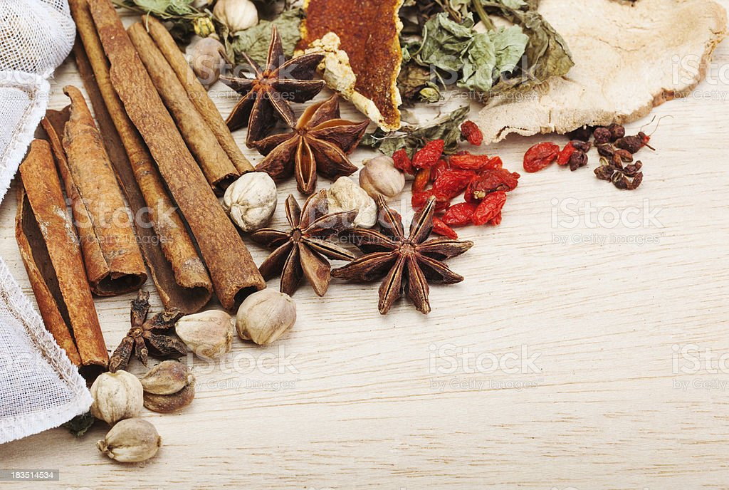 spices on wooden background royalty-free stock photo