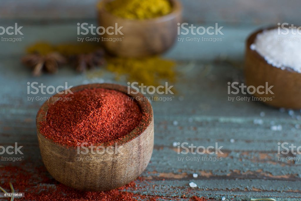 spices on wooden rustic background stock photo