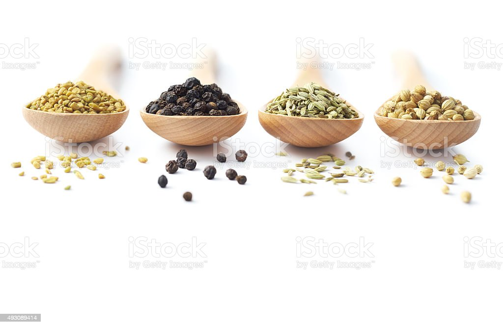 Spices on Wooden Spoons stock photo