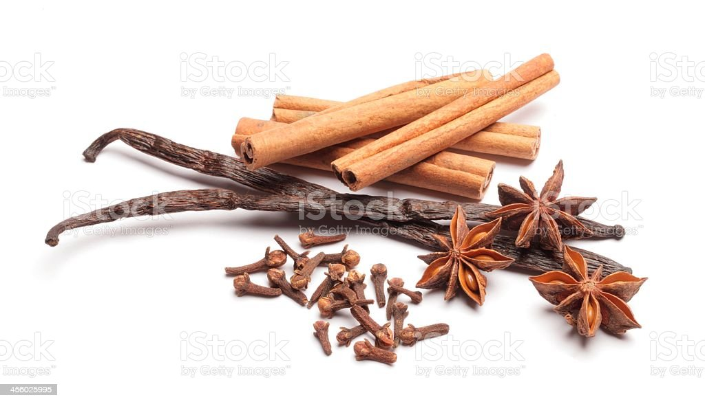 Spices such as vanilla, cinnamon and star anise royalty-free stock photo