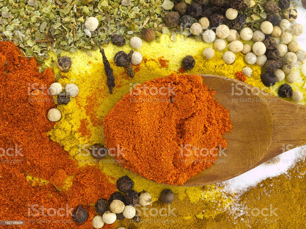 spices with the wooden spoon stock photo