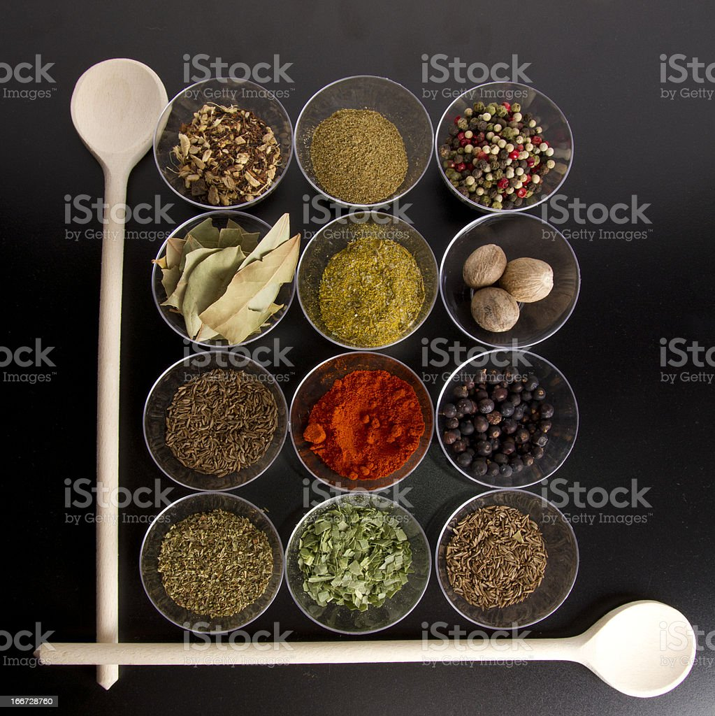 spices with wooden spoons royalty-free stock photo