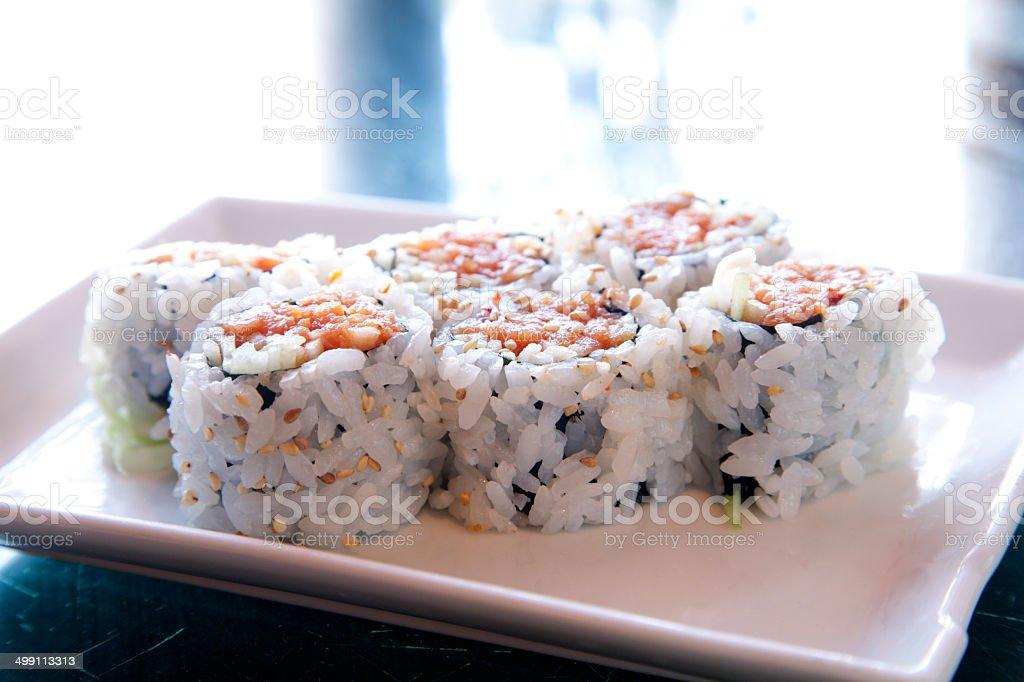 Spicky Tuna Roll Sushi stock photo