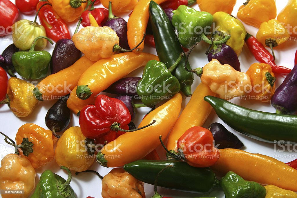 spicy & hot  colorful peppers royalty-free stock photo