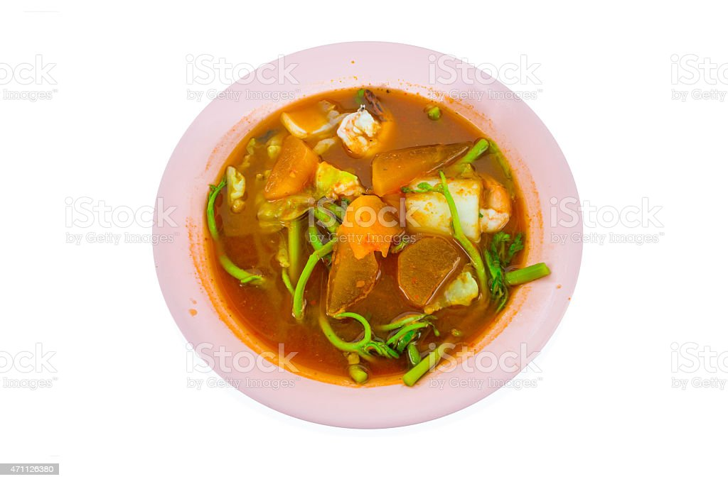 Spicy and Soup Curry with Shrimp and Vegetable stock photo