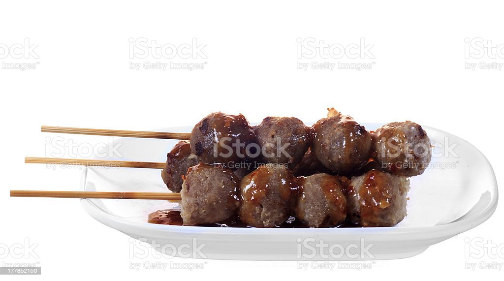 Spicy asian meat ball stock photo