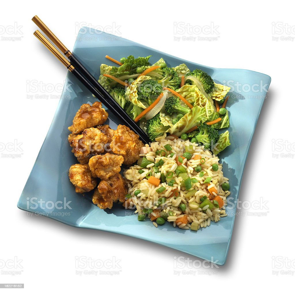Spicy Asian Popcorn Chicken meal, white background royalty-free stock photo