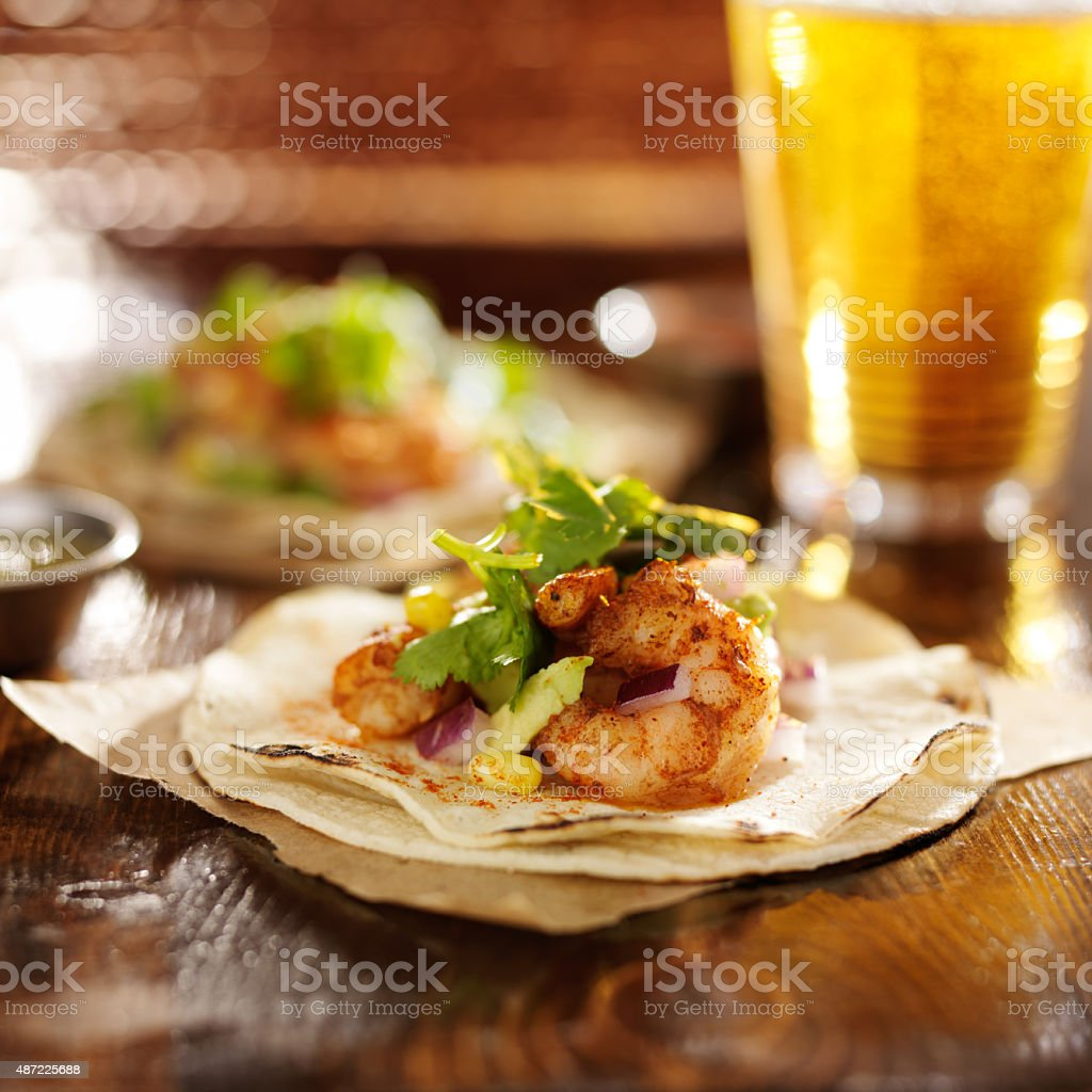 spicy baja shrimp tacos stock photo