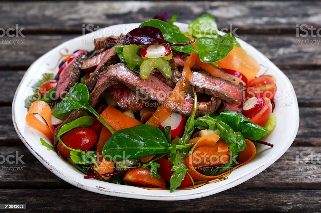 Spicy Beef Meat Salad with mixed vegetables stock photo