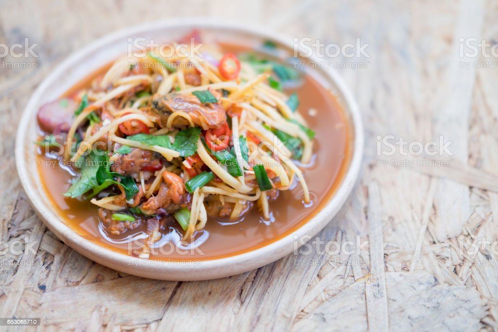 Spicy Blood Cockle with Thai salad, Thailand style food stock photo