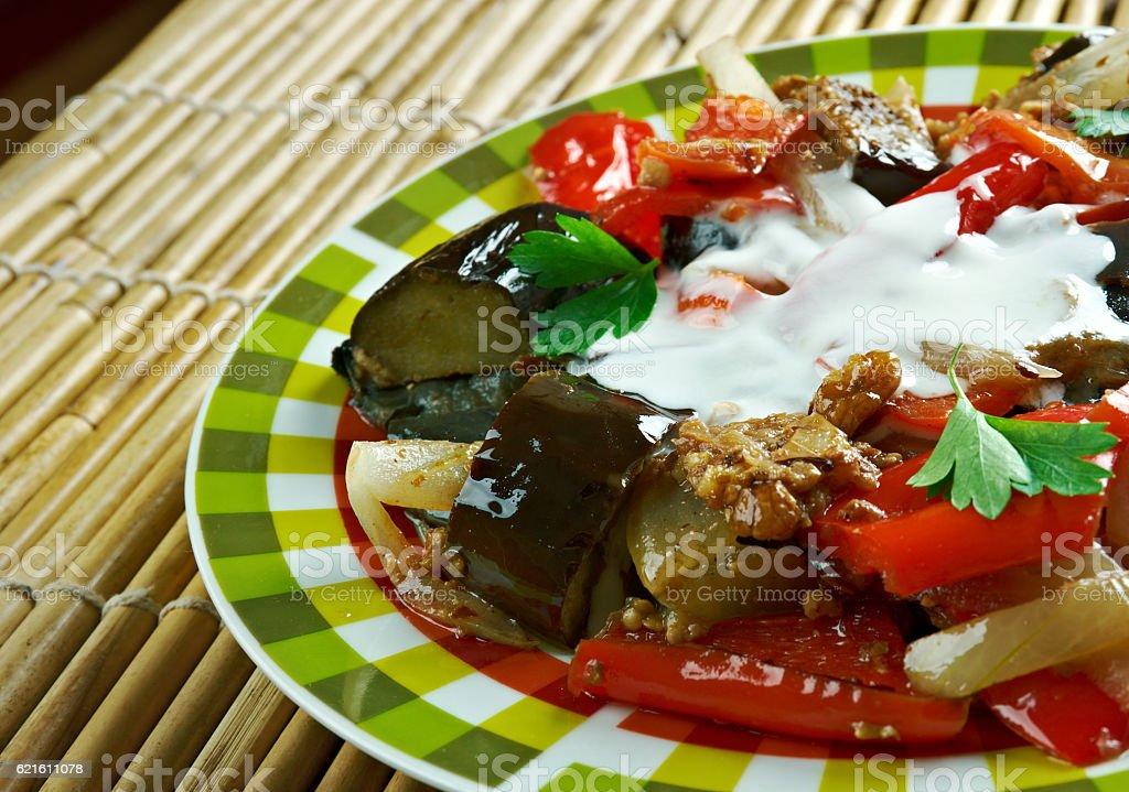 Spicy Braised Eggplant stock photo