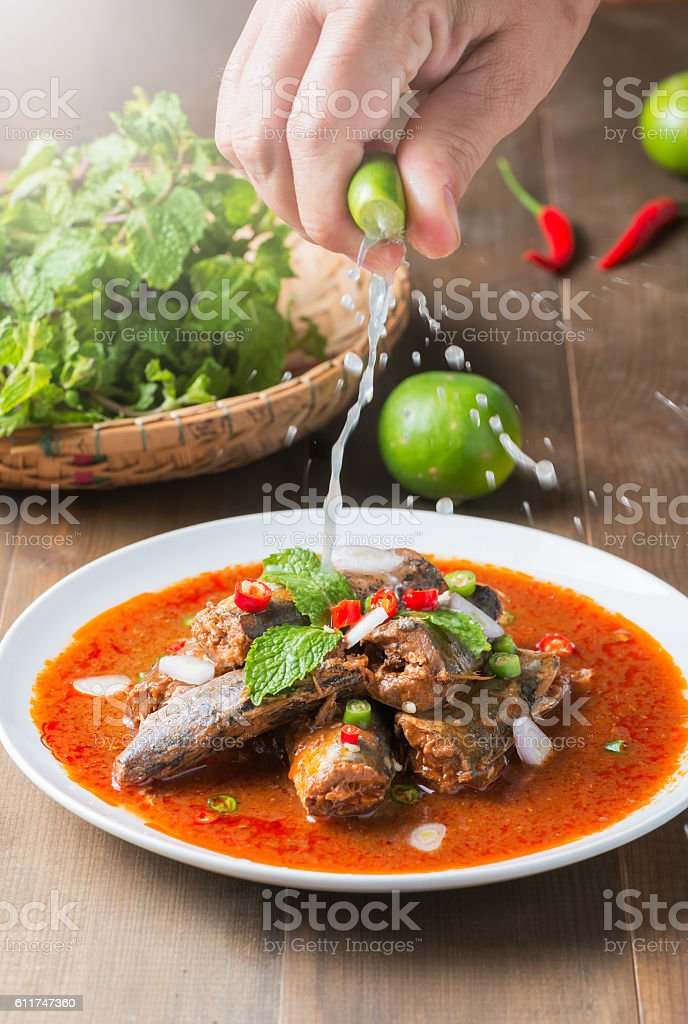 Spicy Canned Sardine Salad stock photo
