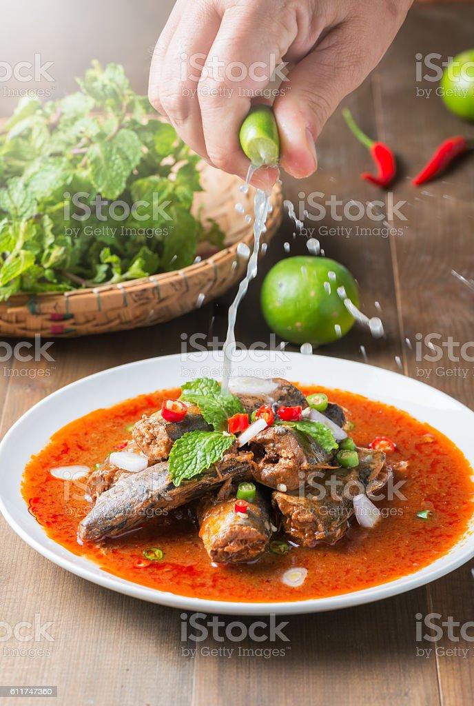 Spicy Canned Sardine Salad stock photo