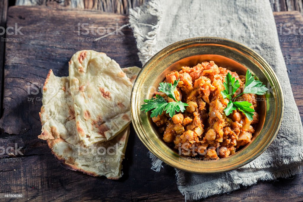 Spicy Channa Masala with chickpeas stock photo