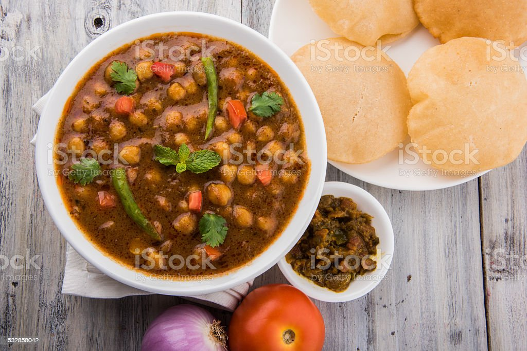spicy chick peas / Chola Masala / Chana Masala puri stock photo