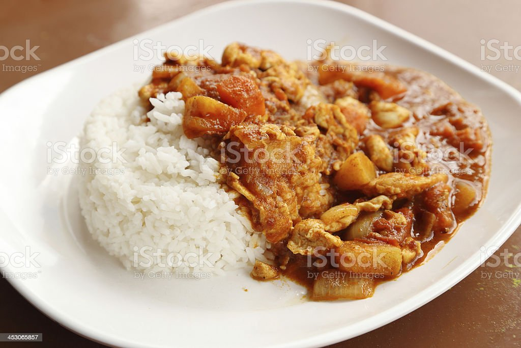 spicy chicken curry and rice royalty-free stock photo