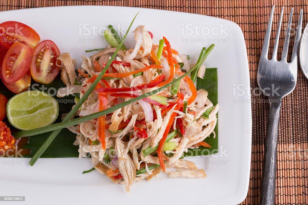 Spicy Chicken salad, Thai food. stock photo