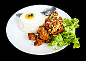 Spicy Chicken with rice and fried egg