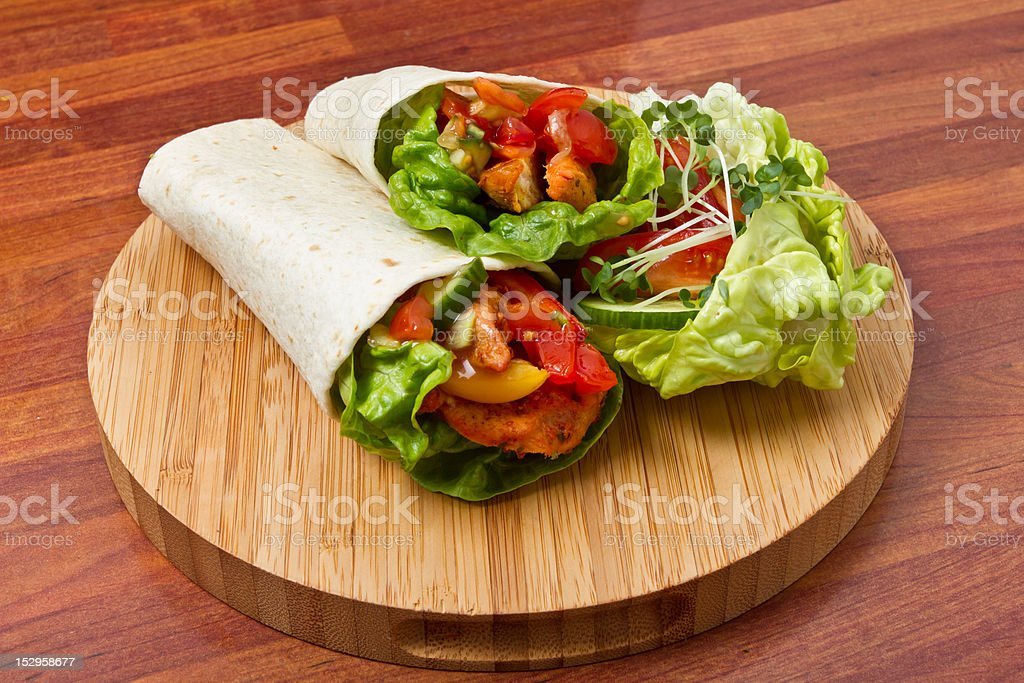 Spicy Chicken Wrap royalty-free stock photo