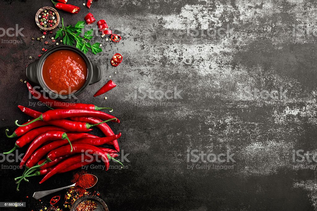 spicy chili sauce, ketchup stock photo