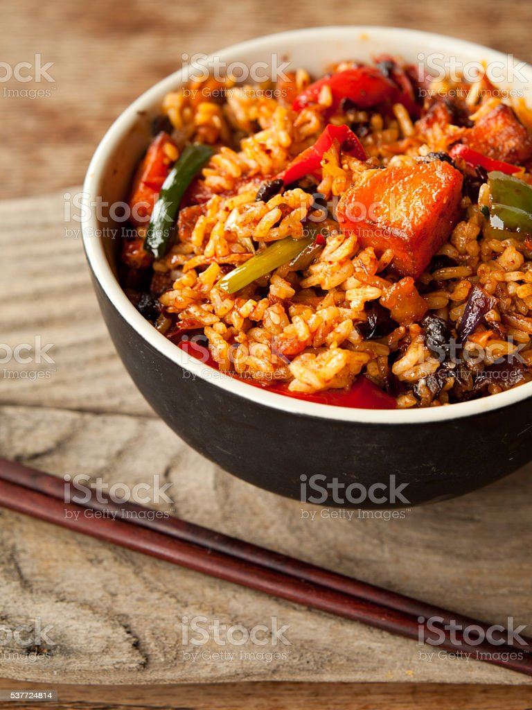 Spicy chinese chicken fried rice stock photo