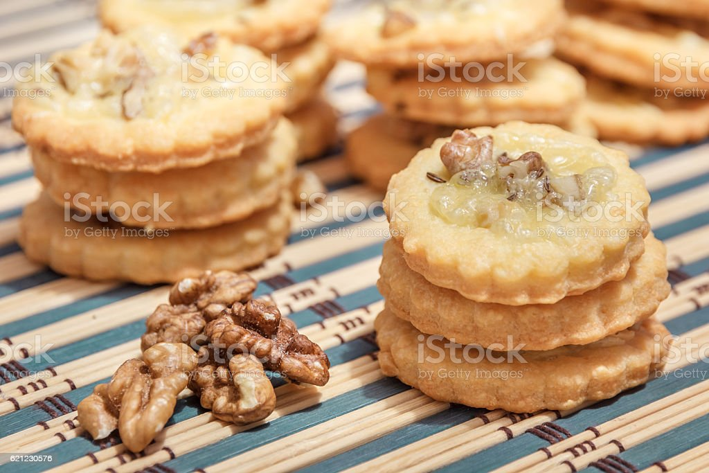 spicy cookies and walnuts stock photo