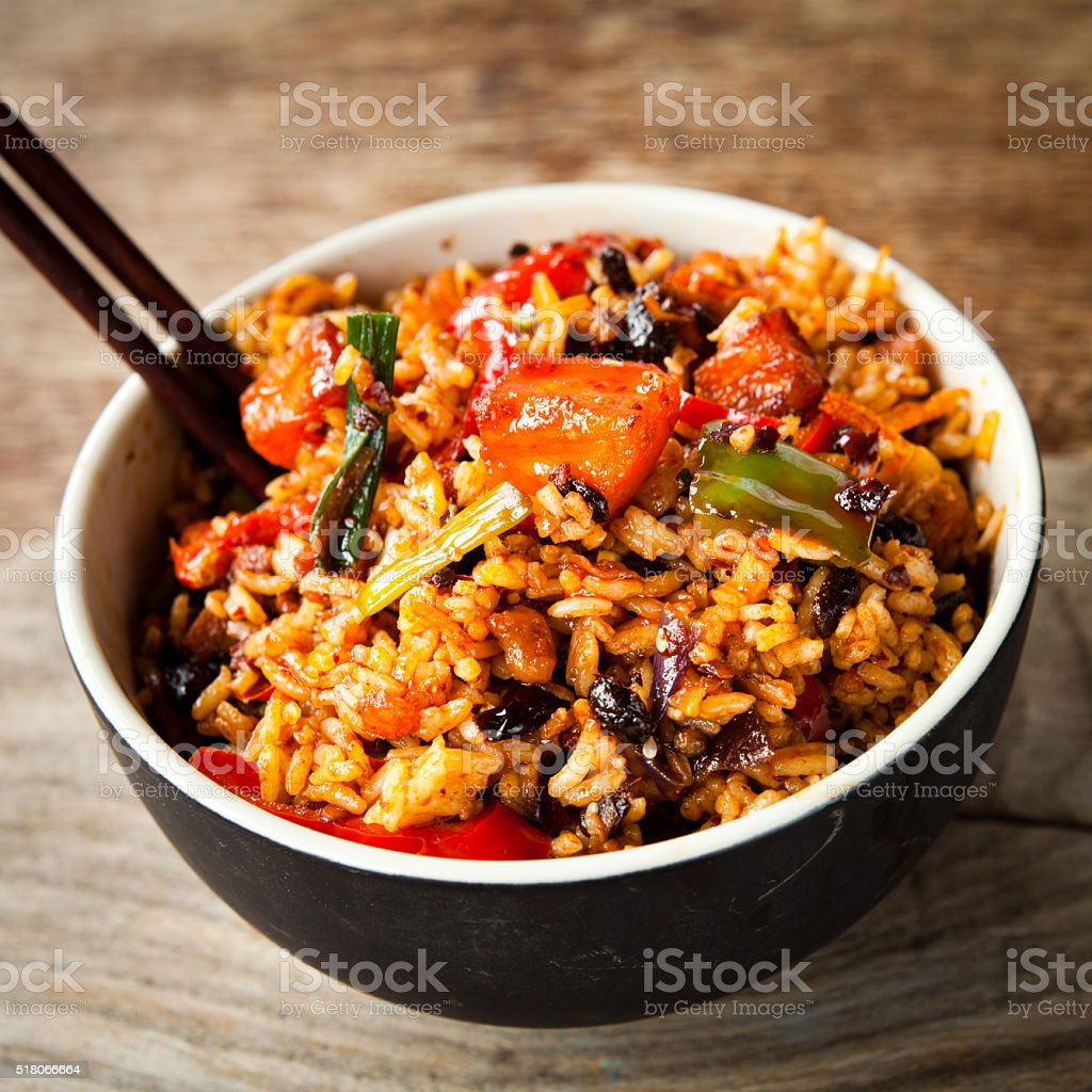 spicy diced chicken rice stock photo