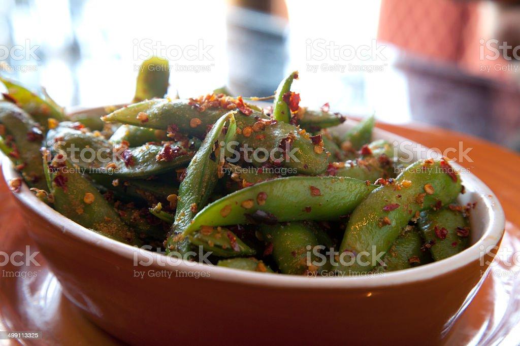 Spicy Edamame stock photo