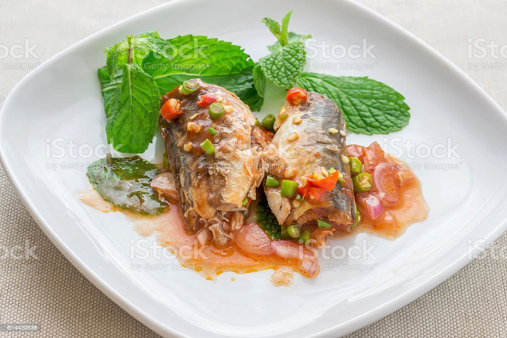 Spicy fish Canned Sardines Salad, Thai food stock photo