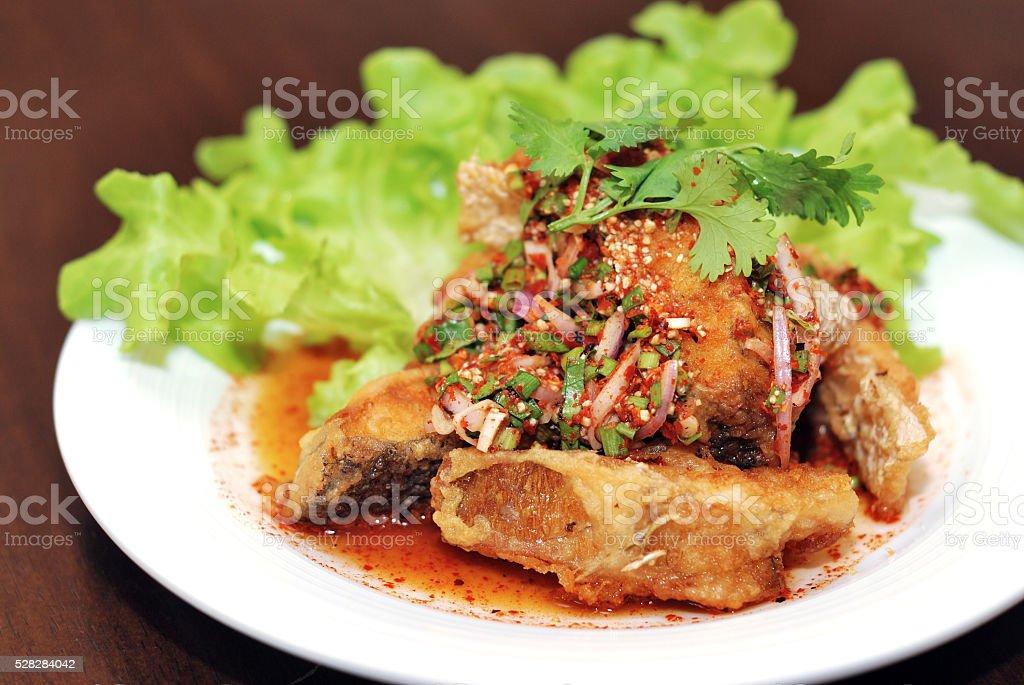 Spicy Fish Salad stock photo
