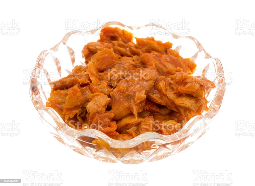 Spicy flavored pink salmon in a small bowl stock photo