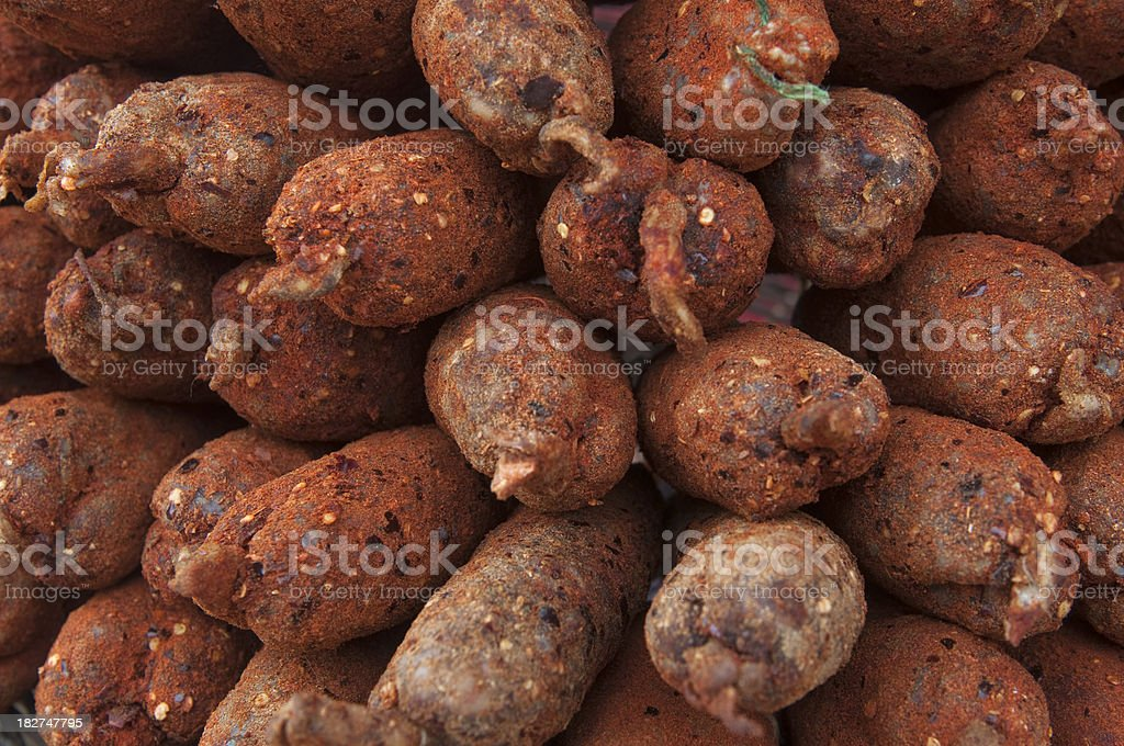 Spicy french sausages backgrounds royalty-free stock photo